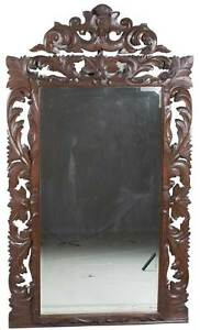Antique Carved Oak Large Tall Wall Mirror Wood Frame Beveled Glass English