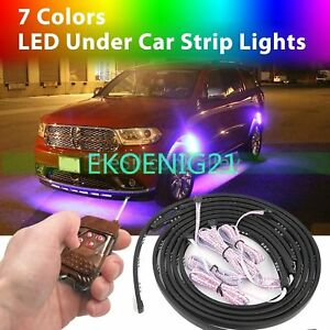 4x48 4x36 7 Color Led Under Car Underbody Neon Lights Strip Controller Ej