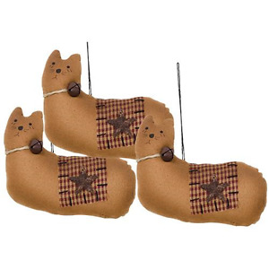 New Primitive Country Tea Stained Set 3 Cat Ornament Bell Hanging Kitty Doll