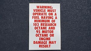 1967 1968 1969 Chevy Corvette L88 Camaro Chevelle 103 Octane Fuel Warning Decal