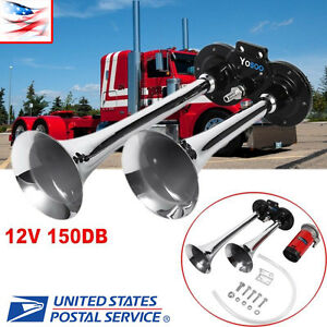12v Loud Chrome Dual Air Horn Trumpet Kit For Train Car Truck Boat Rv Motorcycle