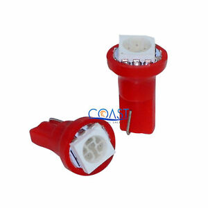 Ultra Bright High Power Red 5050 Led Dashboard Wedge Light Bulbs T5 2 Pcs
