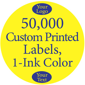 50 000 Printed Labels Custom 1 Round Circle Business Stickers 1 color On Rolls