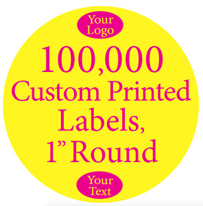 100 000 Printed Labels Custom 1 Round Circle Business Stickers 1 color On Rolls