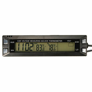 Car Lcd Digital Clock Thermometer Auto Voltage Meter Temperature Battery Monitor