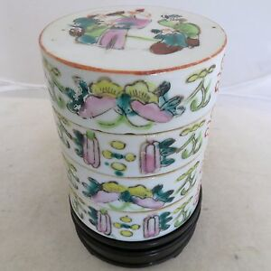5 75 Antique Chinese Stacking Famille Rose Tea Caddy Round Box W Wood Stand