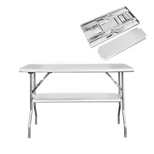Royal Gourmet Double shelf Foldable Work Table Stainless Steel48 X 24 Bbq