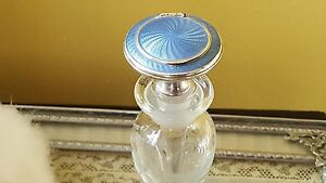 Ultra Rare Combo Compact Perfume Bottle W Guilloche Sterling Collector S