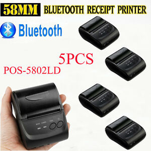 Lot 5 Wireless Bluetooth Thermal Receipt Printer 58mm Line Mobile Pos Android Vp