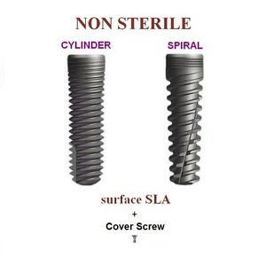 100x Non Sterile Dental Implant With Cover Screw Hex System Surface Sla 1350