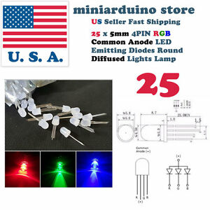 25pcs 5mm 4pin Common Anode Diffused Rgb Tri color Red Green Blue Led Diodes Usa