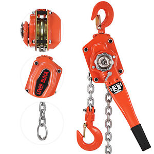 Ratcheting Lever Block Chain Hoist Come Along 3ton Puller 5ft Pulley Usa