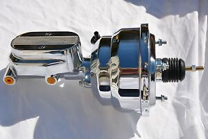 7 Street Rod Dual Power Brake Booster W Center Finned Master Cylinder Chrome