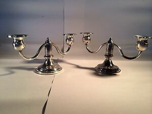 Vintage Rogers Co Weighted Sterling Silver Candleabra Candle Holders