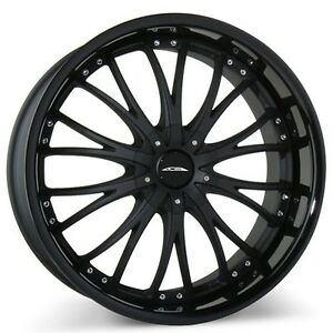4wheels 20 Staggered Ace Alloy Wheels Eminence Bm With Gloss Black Lip Rims