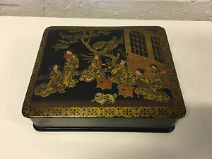Antique Japanese Painted Lacquer Box W Women Birds Dogs Gold Decoration