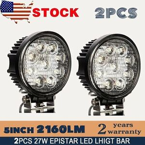 2x 5inch 27w Round Led Work Light Bar Spot Flood Offroad Driving Fog Lamp 12v Vp