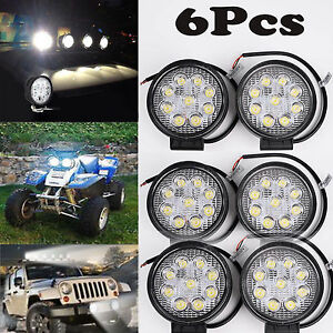 6x 5inch 27w Round Led Work Light Bar Spot Flood Offroad Driving Fog Lamp 12v Vp