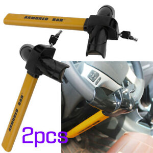 2pc Universal Car Auto Steel Steering Wheel Lock Anti Theft Security Device Vip