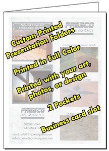 25 Presentation Folders Full Color Custom Printed 2 Pocket Your Logo And Text