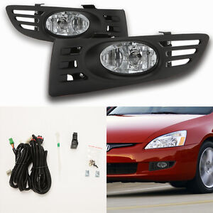 Clear Fog Lights For 2003 2005 Honda Accord Coupe 2dr W Bezel Switch Wiring Bulb