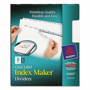 Avery 11437 Print Apply Clear Label Dividers W white Tabs 8 tab Letter 5