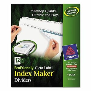 Avery 11582 Print Apply Clear Label Dividers W white Tabs 12 tab Letter 5