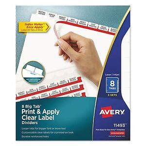 Avery 11493 Print Apply Clear Label Dividers W white Tabs 8 tab Letter 5