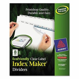 Avery 11581 Print Apply Clear Label Dividers W white Tabs 8 tab Letter 5
