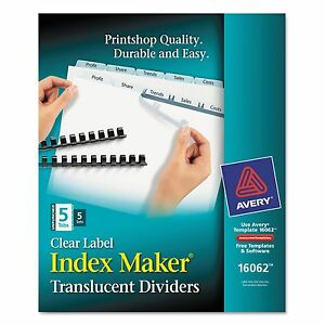 Avery 16062 Print Apply Clear Label Unpunched Dividers 5 tab Ltr 5 Sets