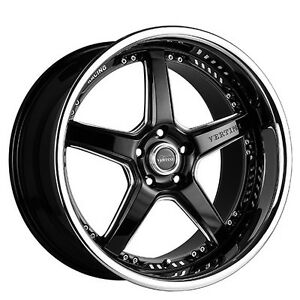 4 New 20 Staggered Vertini Wheels Drift Black W Chrome Ss Lip Rims