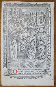 Book Of Hours Leaf Hardouin Woodcut Border Miniature Jesus Healing 1510