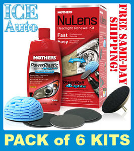 Pack Of 6 Kits Mothers Nulens Diy Headlight Restoration Kit Powerball Polish