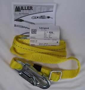 New Miller 210wls 6ftyl 6ft Adjustable Web Lanyard W Locking Snap Hooks
