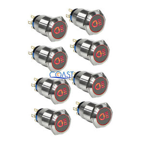 8x Durable 12v 19mm Car Push Latching Button Red Driving Light Led Light Switch