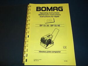 Bomag Bp 10 36 Bp15 45 Plate Compactor Operation Maintenance Book Manual