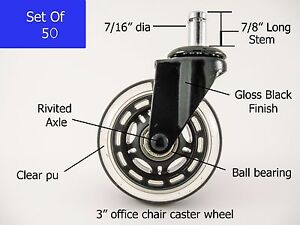 Office Chair Rollerblade Style Wheel Casters Ball Bearing Axle 50 Pc Set New