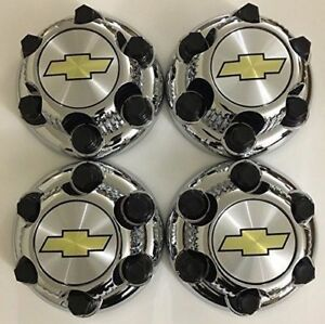 4pcs Chrome Chevy Silverado 1500 Tahoe 6 Lug Center Caps 16 17 Steel Wheels