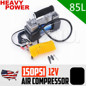 Portable Car Air Compressor Heavy Duty Tire Inflator W 3 Bonus Head 12v 150psi