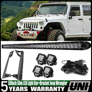 50inch Signle Row Led Light Bar Led Pods Mount Bracket Kit For Jeep Wrangler Tj