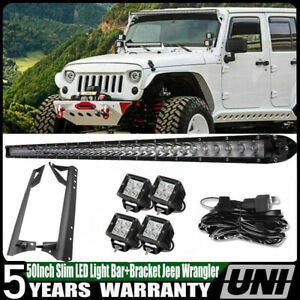 50inch Signle Row Led Light Bar Led Pods Upper Mount Bracket Kit For 07 17 Jk