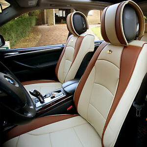 Leather Auto Seat Covers Cushion Pad Front Buckets Suv Sedan Van Beigetan