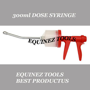 Pistol Grip Dose 300ml Syringe Large Stainless Steel Nozzle Dental equine