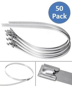 50x Pcs 39 3 Stainless Steel Self Locking Tie Cable Zip Ties Header Wrap Straps