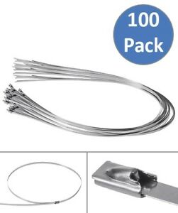 100 Pcs 39 3 Stainless Steel Cable Zip Ties Self Locking Tie Header Wrap Straps