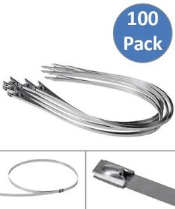 100 Pcs 39 3 Stainless Steel Header Wrap Straps Tie Self Locking Cable Zip Ties