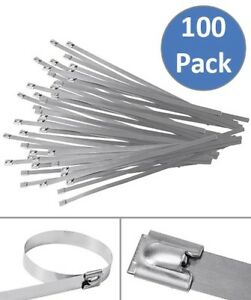 100 Pcs 15 7 Stainless Steel Cable Zip Ties Header Wrap Straps Self Locking Tie