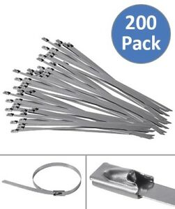 200 Pcs 7 8 Stainless Steel Cable Zip Ties Self Locking Tie Header Wrap Straps