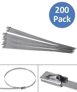 200 Pcs 15 7 Stainless Steel Self Tie Locking Header Wrap Straps Cable Zip Ties