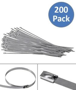 200 Pcs 15 7 Stainless Steel Self Locking Cable Zip Ties Header Wrap Straps Tie